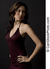 Demure Asian - A beautiful asian model in a velvet evening...