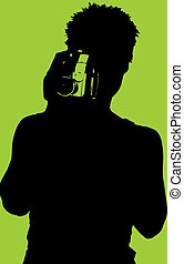 Silhouette of Woman with Video Camera - Black and green...
