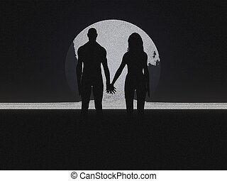Couple Silhouette - Couple holding hands silhouette pencil...