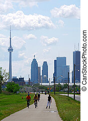 Toronto city skyline with recreation trail