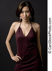 Asian Model - A beautiful asian woman in a velvet evening...