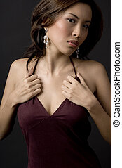 Asian Girl - A beautiful asian model in velvet evening dress