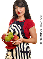 Homemaker - A woman wearing a striped apron carrying red and...