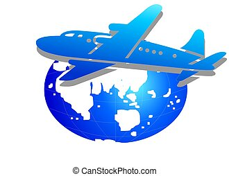 Airplane & Globe - A symbol about Travelling and Business