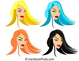 Fashion Dolls - Illustration about stilized faces of funny...