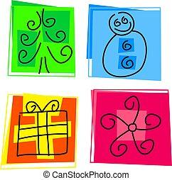 Christmas icons - abstract Christmas icons