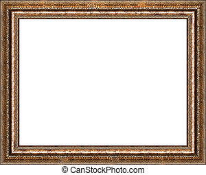 Antique rustic golden picture frame isolated - Antique...