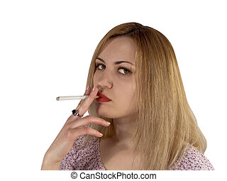 Smoking girl - Portrait blondie girl with cigar