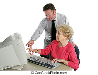 Sr Computer Class - A senior lady taking computer lessons...