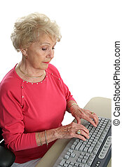 Sr Lady @ Computer - A senior lady learning how to use the...