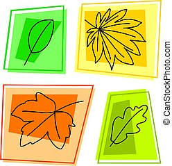 fall leaf icons - selection of autumn leaves