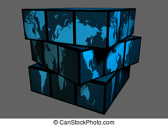 Globe - World map as cube. Globe.