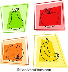 fruit icons - selection of artistic fruit icon designs