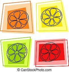 fruit icons - fruit slice icons - orange, lemon, lime,...