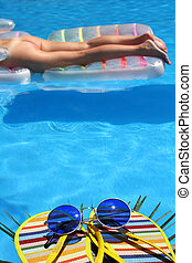 Summer Nude - Pool view with shoes and nude figure in the...