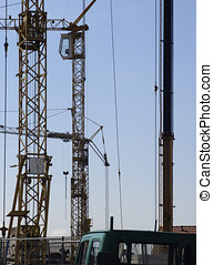 Building site with construction cranes
