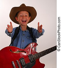 Lonesome Cowboy 26 - Young boy playing electric guitar