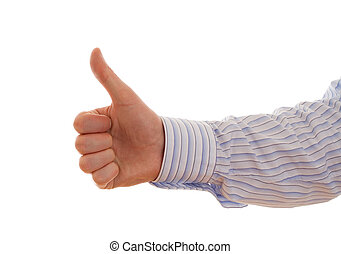 well done - thumbs up on a white background
