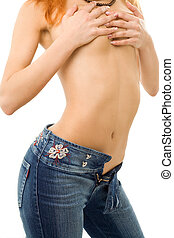 pose - topless girl in blue jeans
