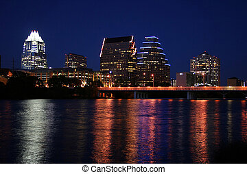 Downtown Austin, Texas at Night - A very pretty night in...