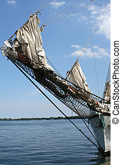 docked schooner - the bow of a docked ship