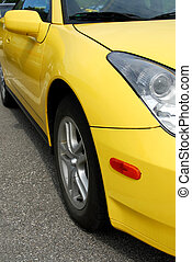 Yellow sports car, front view