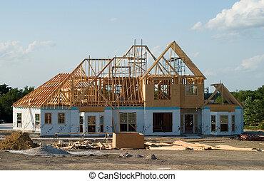 grande, casa, debajo, construcción