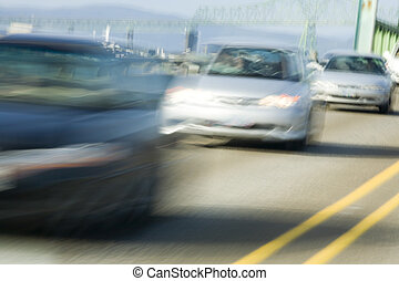 Stock Photo of Traffic on the Young\\\'s Bay Bridge - Photo...