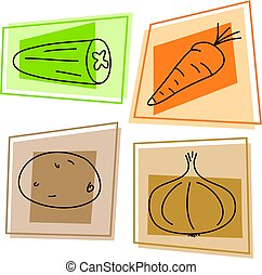vegetable icons - selection of vegetables - cucumber,...