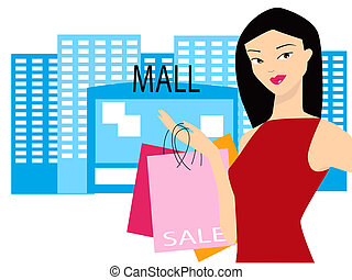 Mall Sale - Illustration of a woman carrying shopping bags
