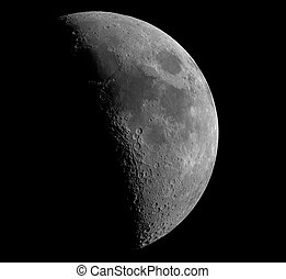 crescent moon - A six-day-old crescent Moon. This image is...