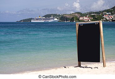 Information board on - Plain information board on a lonely...