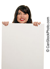 Woman smiling with advertising sign