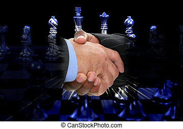 Friendly Competition - Two men shaking hands over chess...