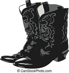 Western Boots 2 - Cowboy boots ,black over white drawing