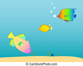 Sea Creatures - Underwater scene with fish.