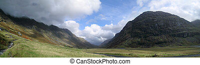 glen coe weather - Looking east along Glen Coe on a showery...