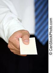 Business card - Businessman handing out a business card