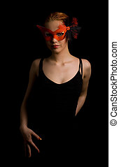 tango - mysterious lady in red mask ready to dance