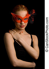 secret - mysterious lady in red mask