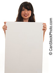 Advertise, or Protest - A woman with blank sign ready for...