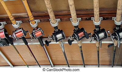 fishing rods stored on charter boat