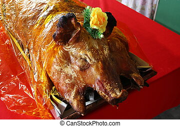 Roast Pig from the Chinese Groom to the Brides Family