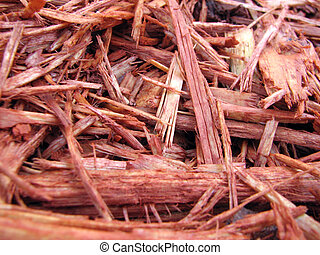 Red Mulch - Macro shot of red mulch.