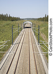 Railroad track - A high speed, modern railroad running thru...