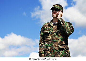 mobile soldier - soldier and cellular phone