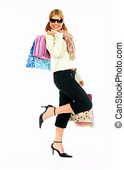 Shopping Girl 2 - Blonde sexy girl with hands full of bags