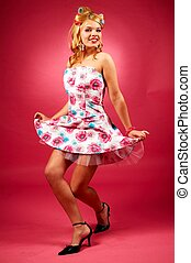 Woman with curlers - Beautiful woman with curlers