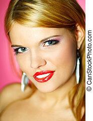 Red lips beauty - Portrait of beautiful young sexy woman