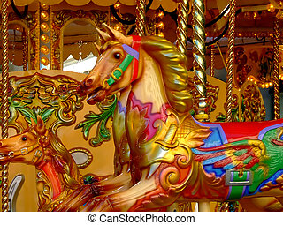 Merry go round gold horses